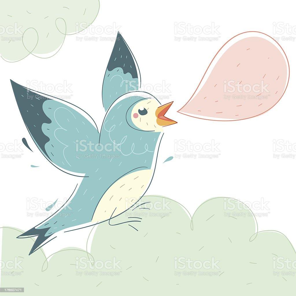 Blue Bird vector art illustration