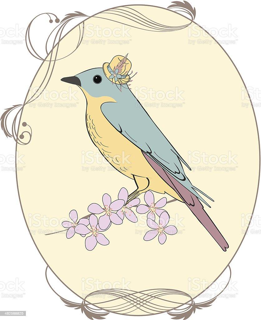 Blue Bird Vintage vector art illustration