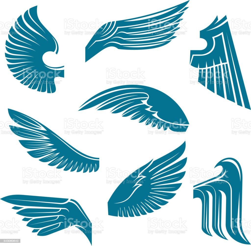 ブルーの鳥の羽 紋章の デザイン要素 アイコンのベクターアート素材や