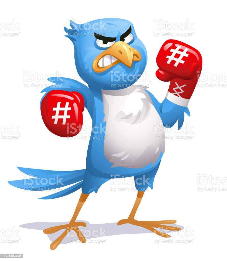 Blue Bird With Boxing Gloves