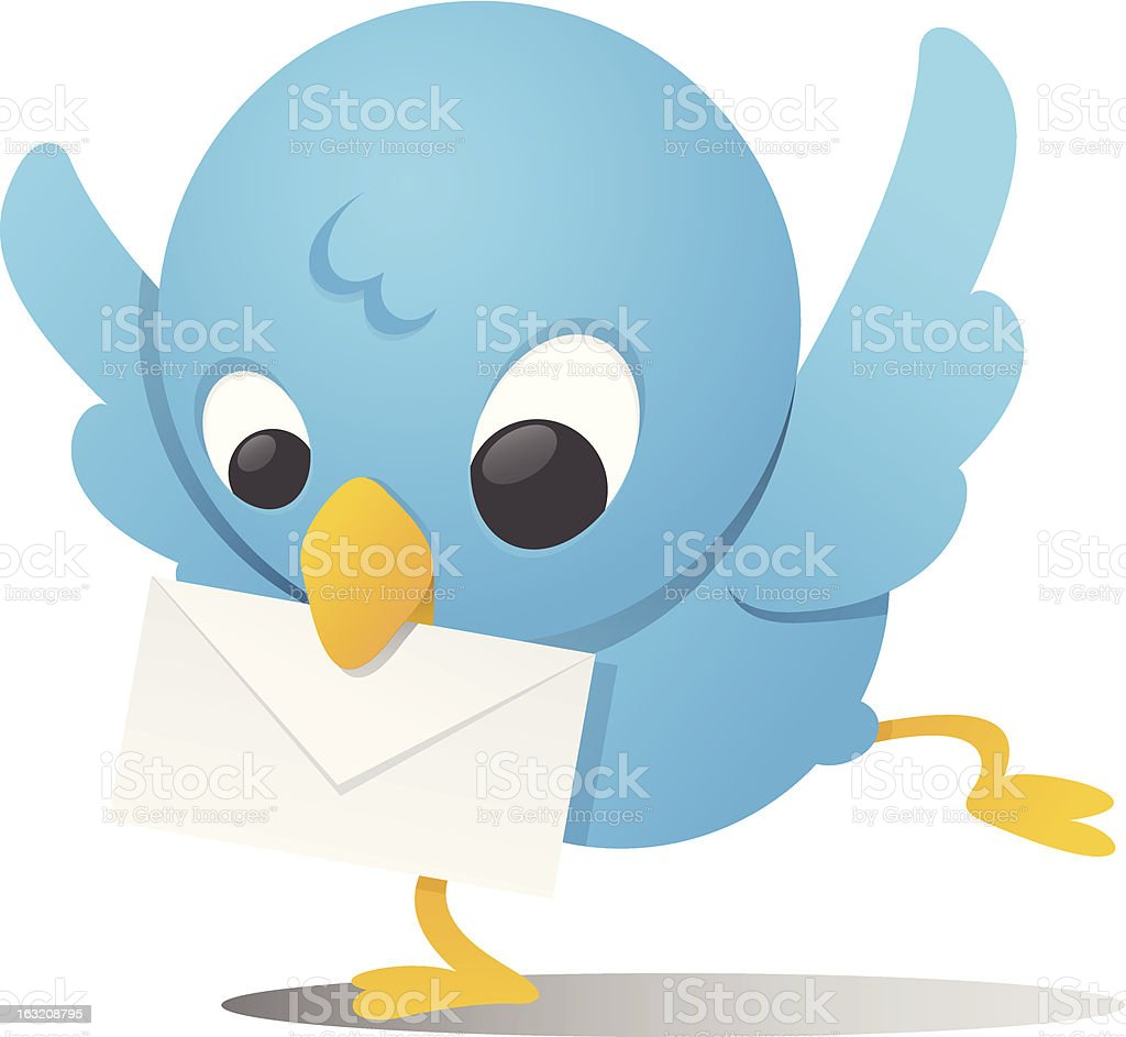 Blue Bird With Mail royalty-free stock vector art
