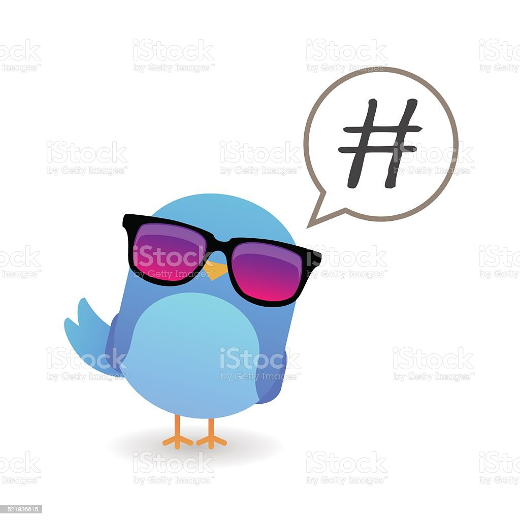 Blue bird with sunglasses vector art illustration
