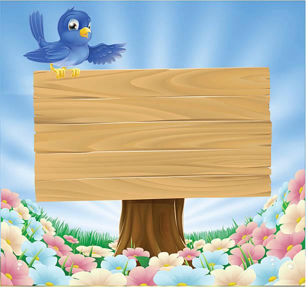 Blue bird wooden nature sign vector art illustration