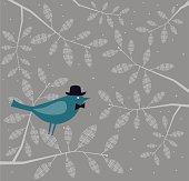 Blue Bird-Gentleman on Branch