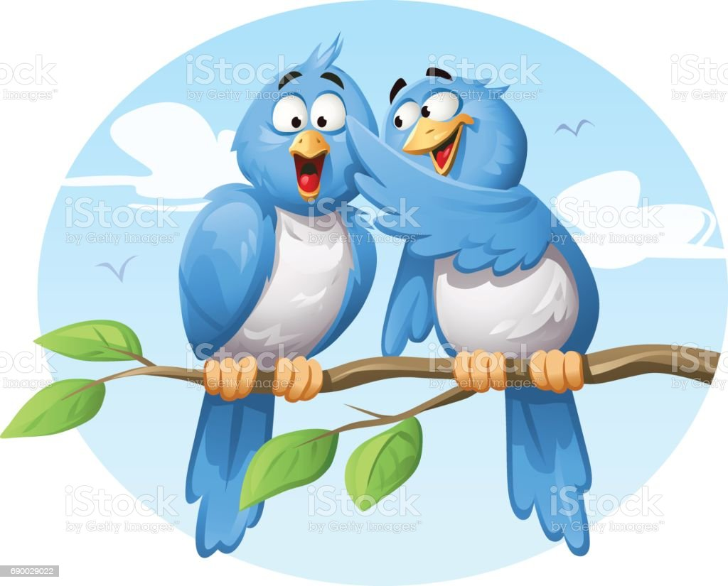 Blue Birds Gossiping vector art illustration