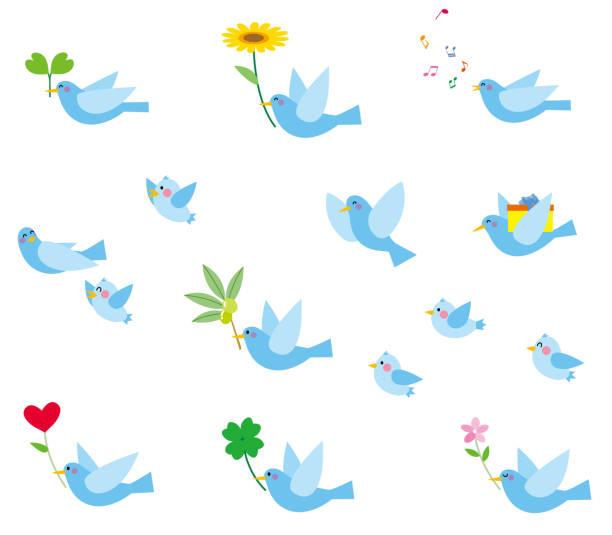 Blue birds vector art illustration
