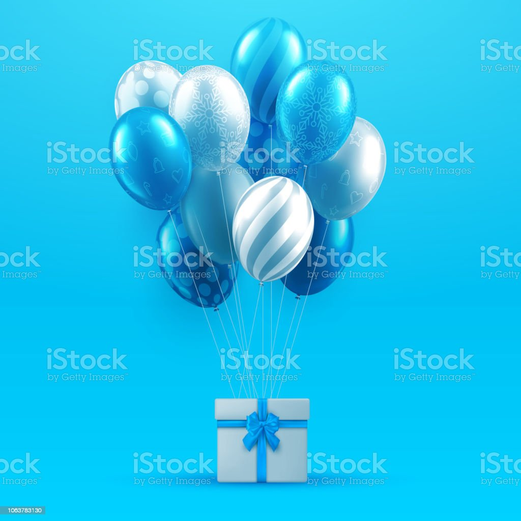 blue birthday christmas and new year card with gift and shiny balloons royalty