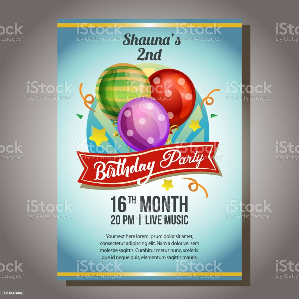 Blue birthday party invitation poster with balloon stock vector art blue birthday party invitation poster with balloon royalty free blue birthday party invitation poster with stopboris Choice Image