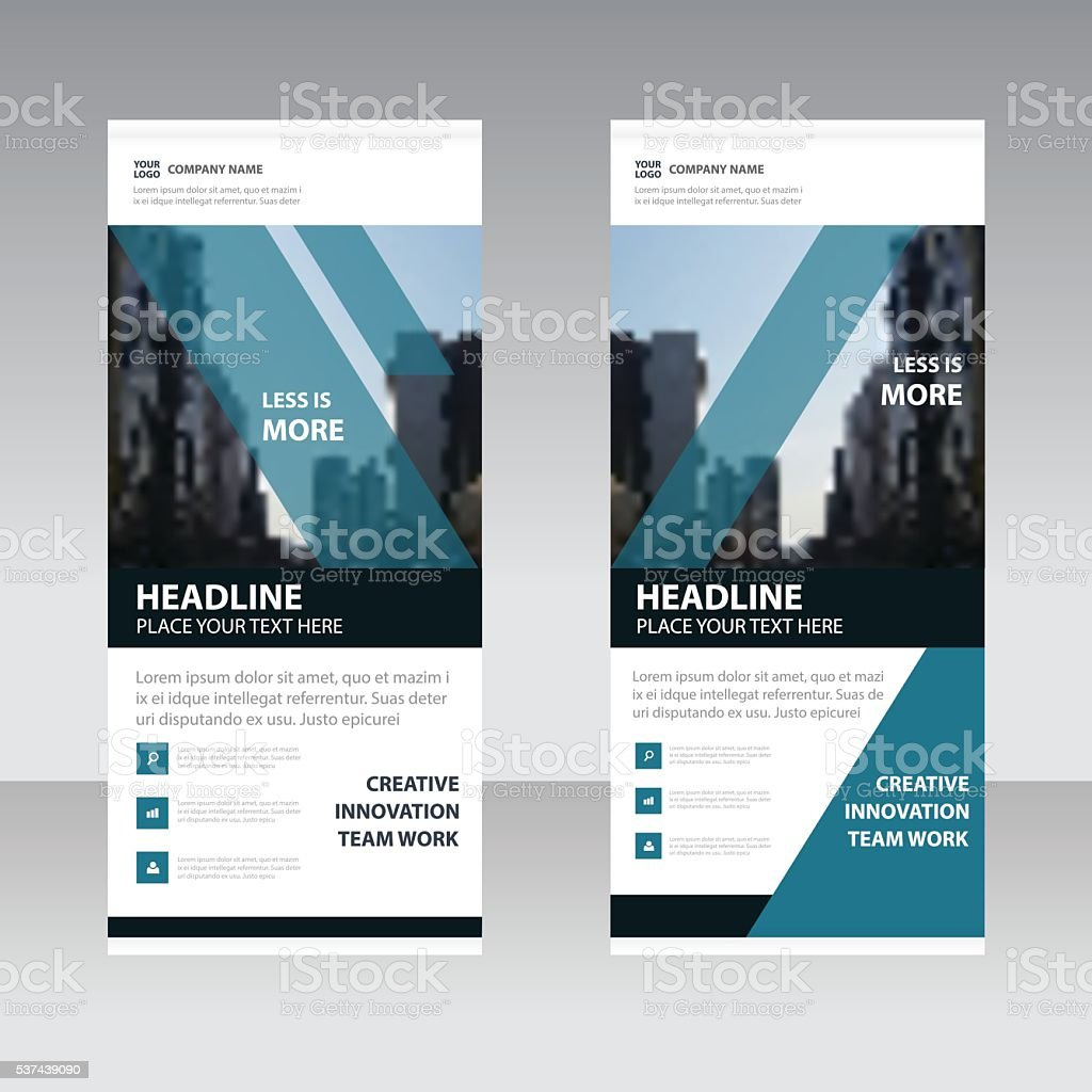 Blue black Business Roll Up Banner flat design template vector art illustration