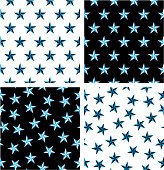 Blue & Black Color Nautical Star Aligned & Random Seamless Pattern Set