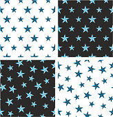 Blue & Black Color Nautical Star Big & Small Aligned & Random Seamless Pattern Set