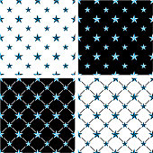 Blue & Black Color Nautical Star Big & Small Seamless Pattern Set