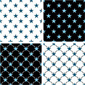 Blue & Black Color Nautical Star Seamless Pattern Set
