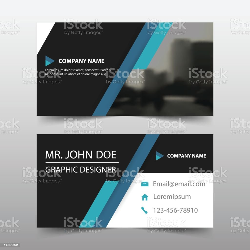 Blue Black Corporate Business Card Header Template Flat Design Set ...