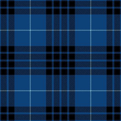Blue Black Scottish Tartan Plaid Textile Pattern