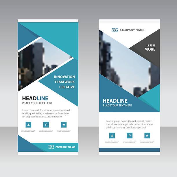 blue black triangle business roll up banner flat design template vector art illustration