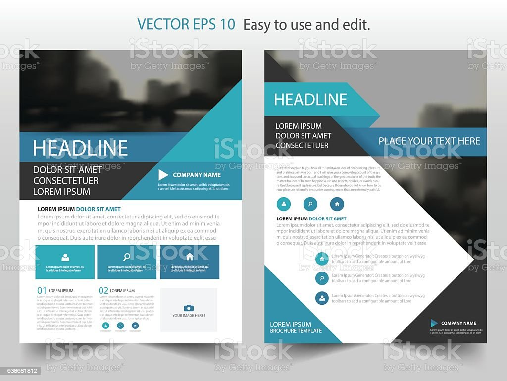 Blue Black Triangle Vector annual report Leaflet Brochure Flyer template vector art illustration