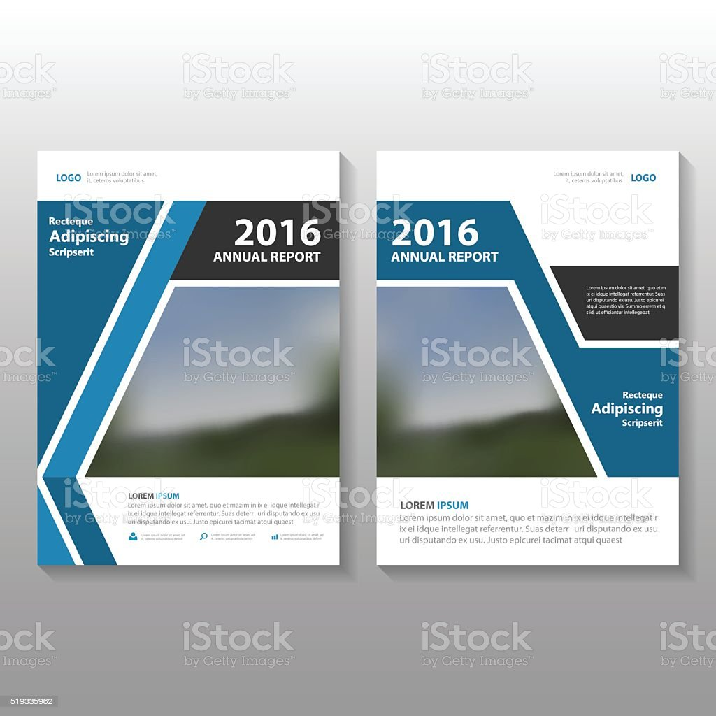 Blue Black Vector Annual Report Leaflet Brochure Flyer Template - Brochure flyer templates