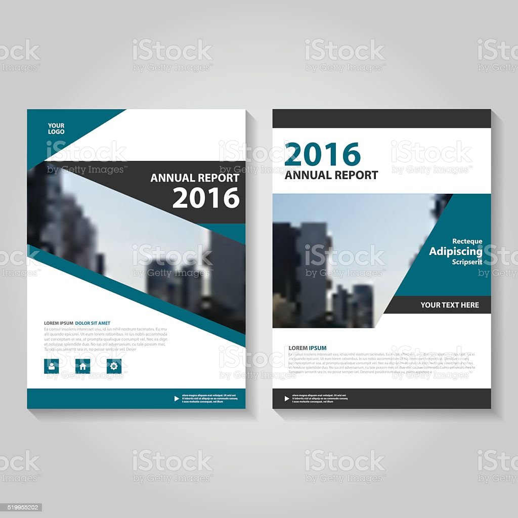 Blue Black Vector Annual Report Leaflet Brochure Flyer Template ...
