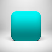 Technology cyan blank app icon (button) template with realistic shadow and light background for internet sites, web user interfaces (UI), applications (app) and business presentations. Vector design.