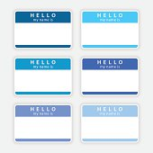 Blue blank nametag hello my name is sticker tag label