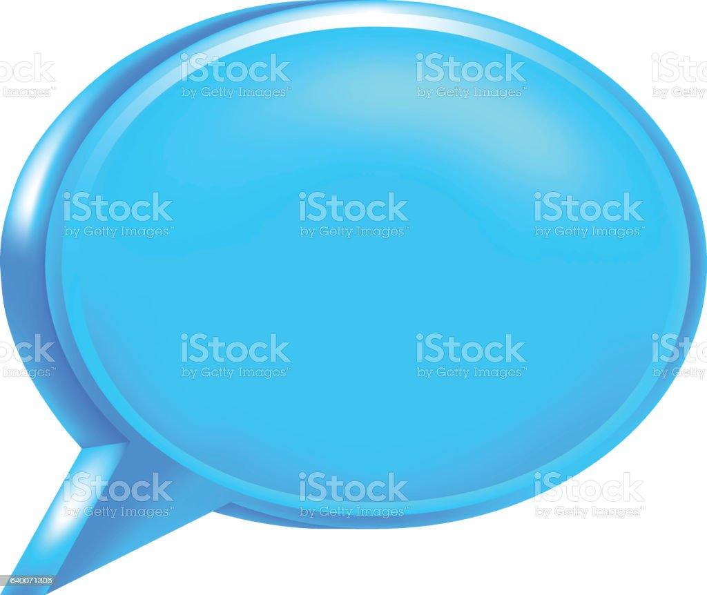 Blue Blank Speech Bubble Icon vector art illustration