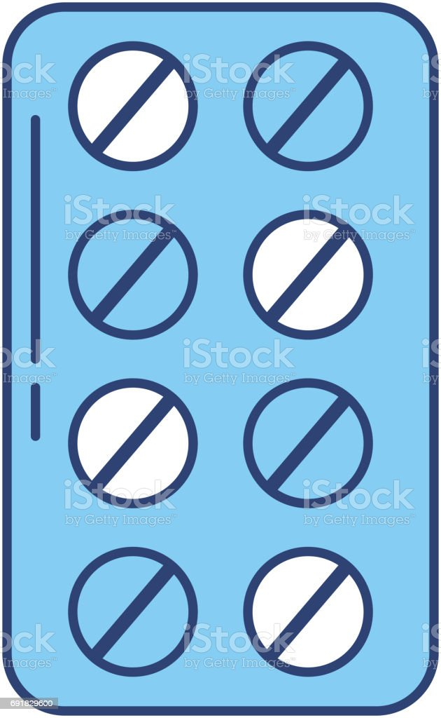 blue blister pack pills vector art illustration