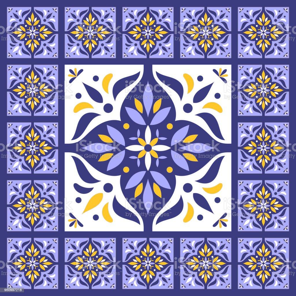 Ilustración de Azul Azul Vintage Baldosas Vector Patrón Con ...