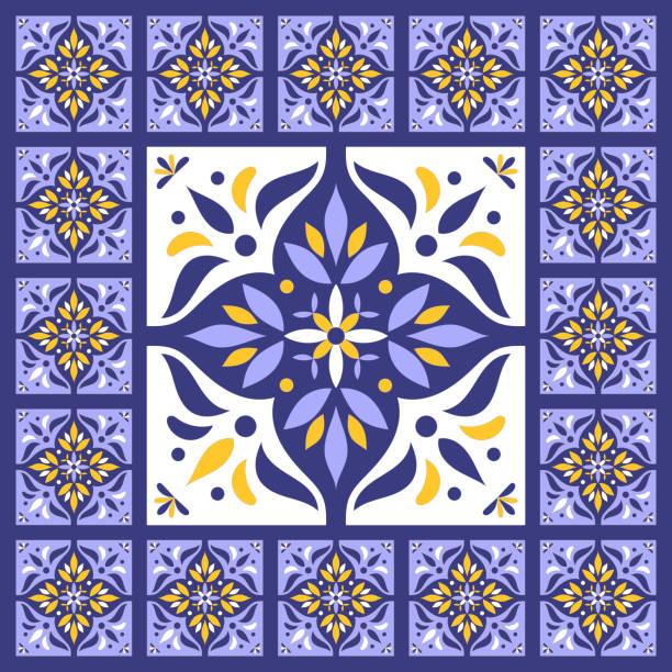 illustrations, cliparts, dessins animés et icônes de bleu bleu vintage carreaux vecteur avec des éléments en céramique. grand centre est encadré dans les petites. fond avec des azulejos portugais, talavera mexicain, des motifs espagnols, italiens. - cuisine espagnole