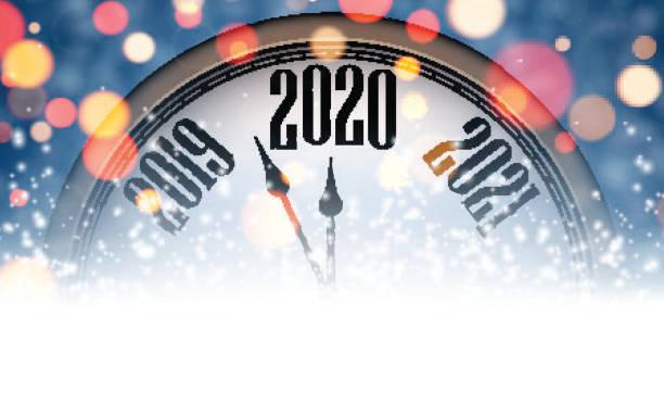 Blau verschwommenes Neujahr 2020 Banner mit Uhr. – Vektorgrafik