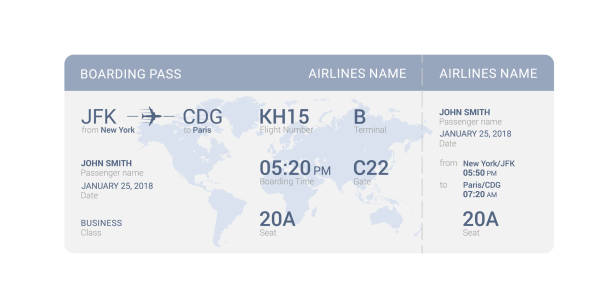 Blue boarding pass Blue boarding pass isolated on a white background. Vector illustration. airplane ticket stock illustrations