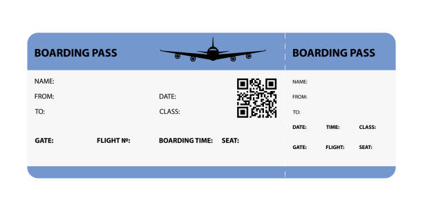 blue boarding pass - airplane ticket stock illustrations