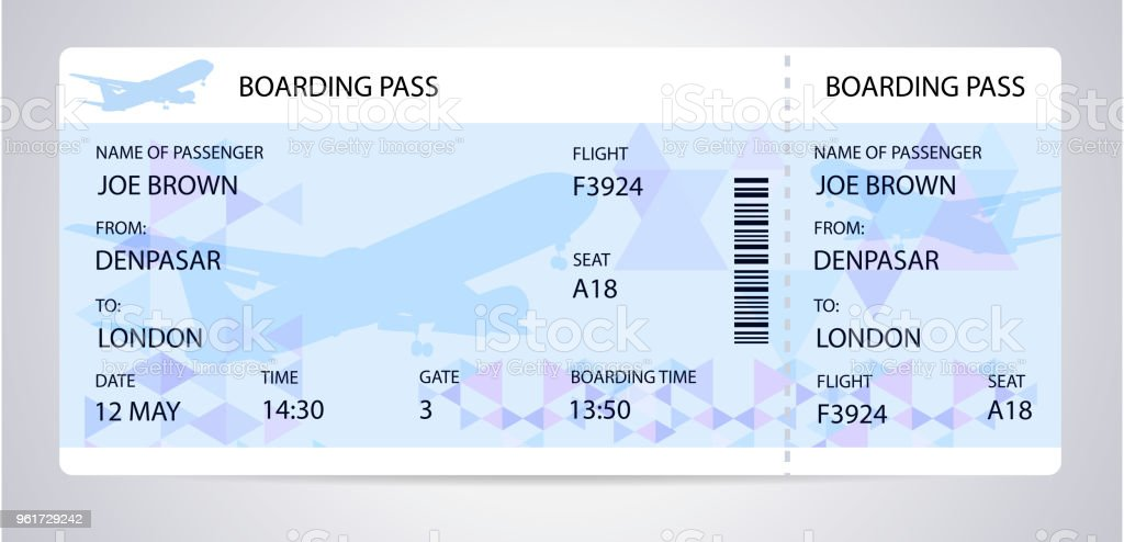 Blue Boarding Pass Silhouette On Background Stock Vector Art More