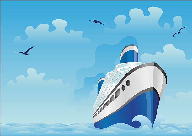 Blue boat in the sea vector art illustration