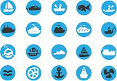 Blue Boating Sailing icons