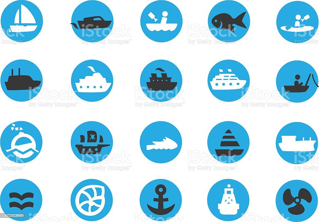 Blue Boating Sailing icons vector art illustration