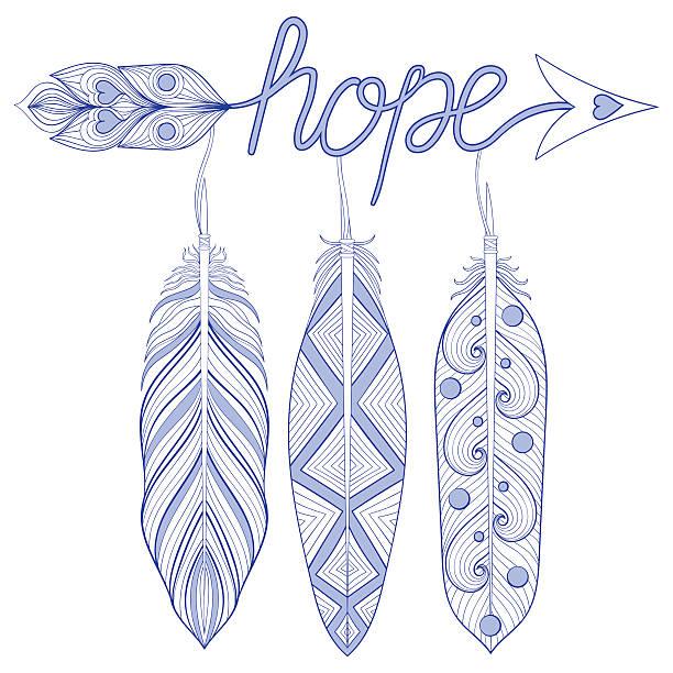 ilustrações de stock, clip art, desenhos animados e ícones de blue bohemian arrow, hope amulet with henna feathers - hope
