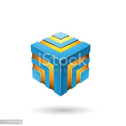 istock Blue Bold Striped Cube 1141675133