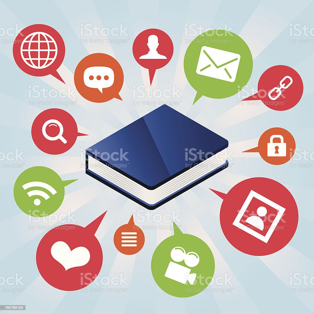 Blue book surrounded by icons royalty-free blue book surrounded by icons stock vector art & more images of blue