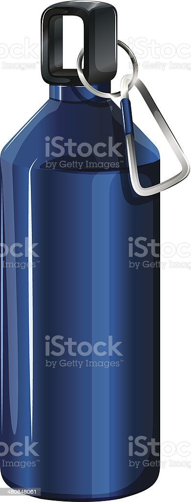 Blue bottle with a keychain royalty-free stock vector art