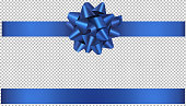 blue bow and ribbon illustration for christmas and birthday decorations vector