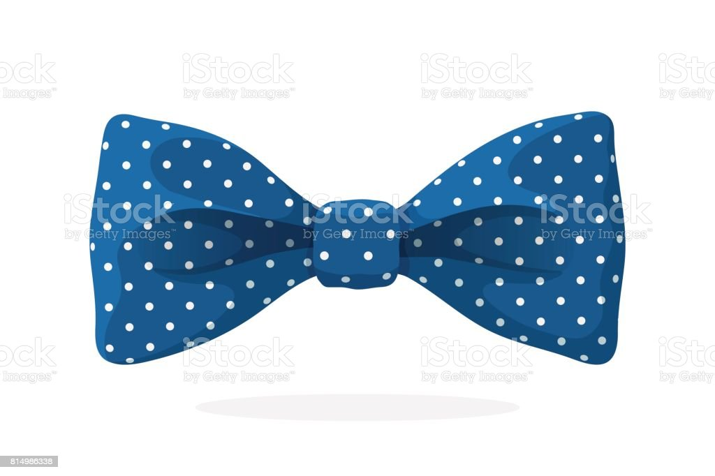 Blue bow tie with print a polka dots vector art illustration