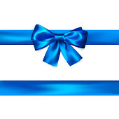 Blue bow with ribbon isolated on white background. Realistic silk bow. Decoration for gifts and packing blue bow. Vector illustration