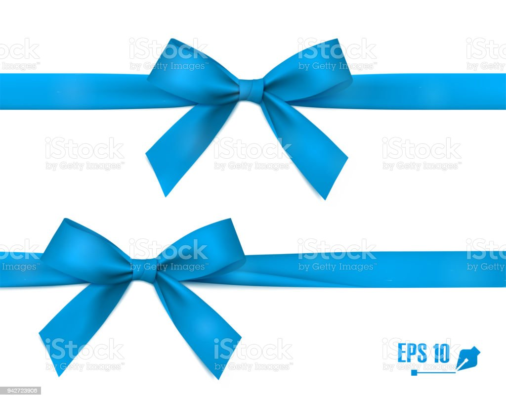 Blue bow with ribbon. Vector. vector art illustration