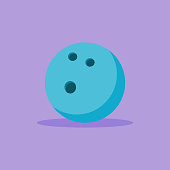 Blue bowling ball flat style icon on purple background. Vector illustration.