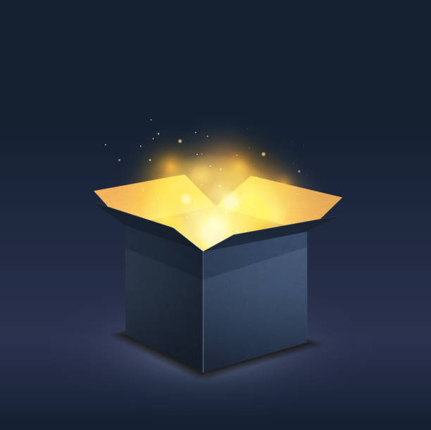 Blue box with magic golden light on dark Blue box with magic golden light on dark background opening stock illustrations