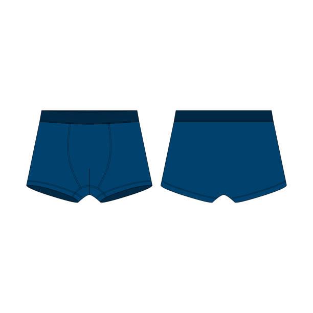 illustrations, cliparts, dessins animés et icônes de sous-vêtements de culottes de boxeurs bleus pour des garçons isolés sur le fond blanc. - homme slip