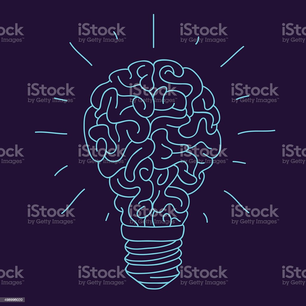 Blue brain in the form of a burning light bulb stock vector art blue brain in the form of a burning light bulb royalty free blue brain in ccuart Image collections