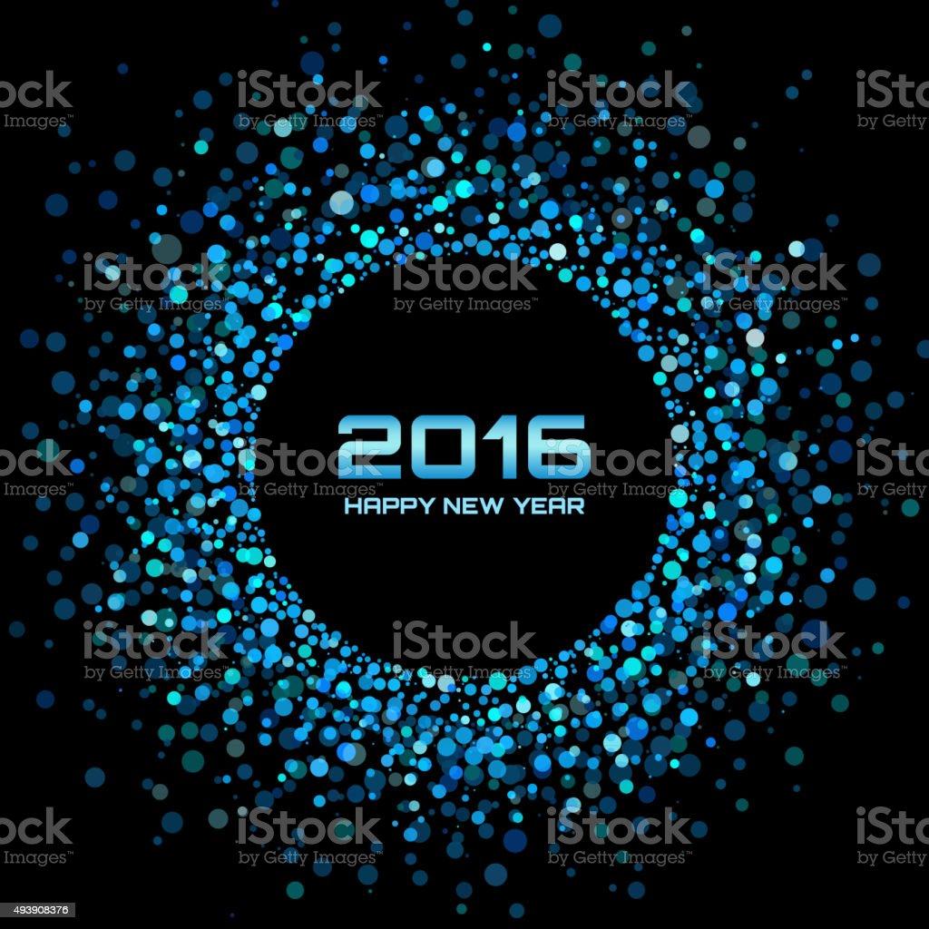 Blue Bright New Year 2016 Background vector art illustration
