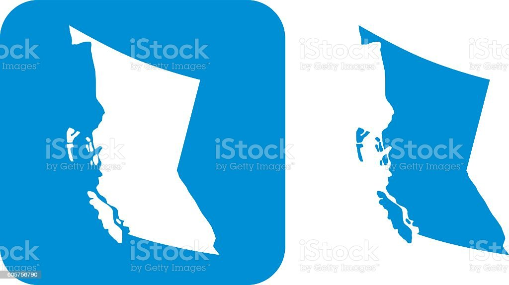 Blue British Columbia Icons vector art illustration